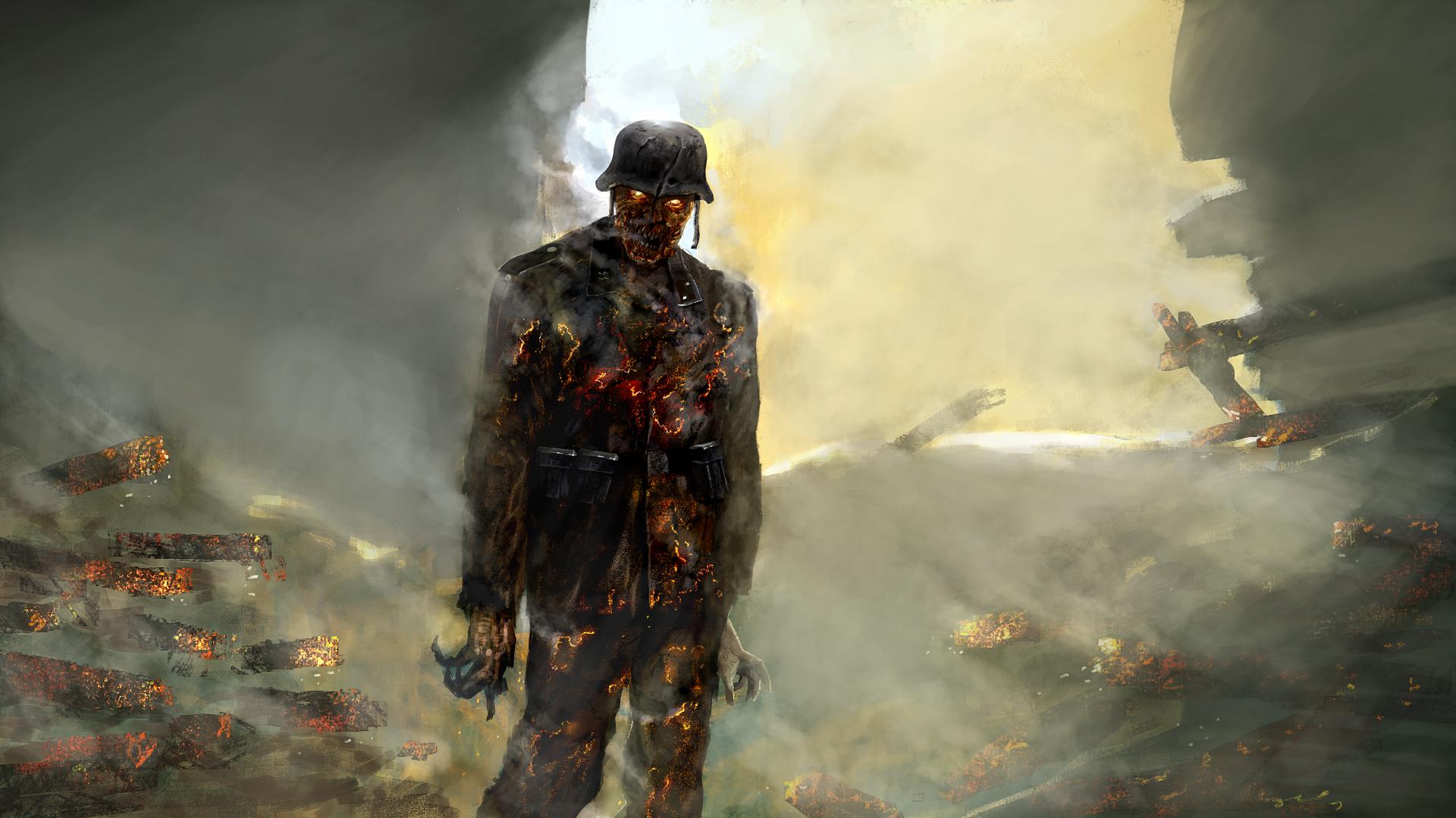 La Segunda Guerra Mundial y los videojuegos arrojan imágenes como esta, de un zombi nazi.