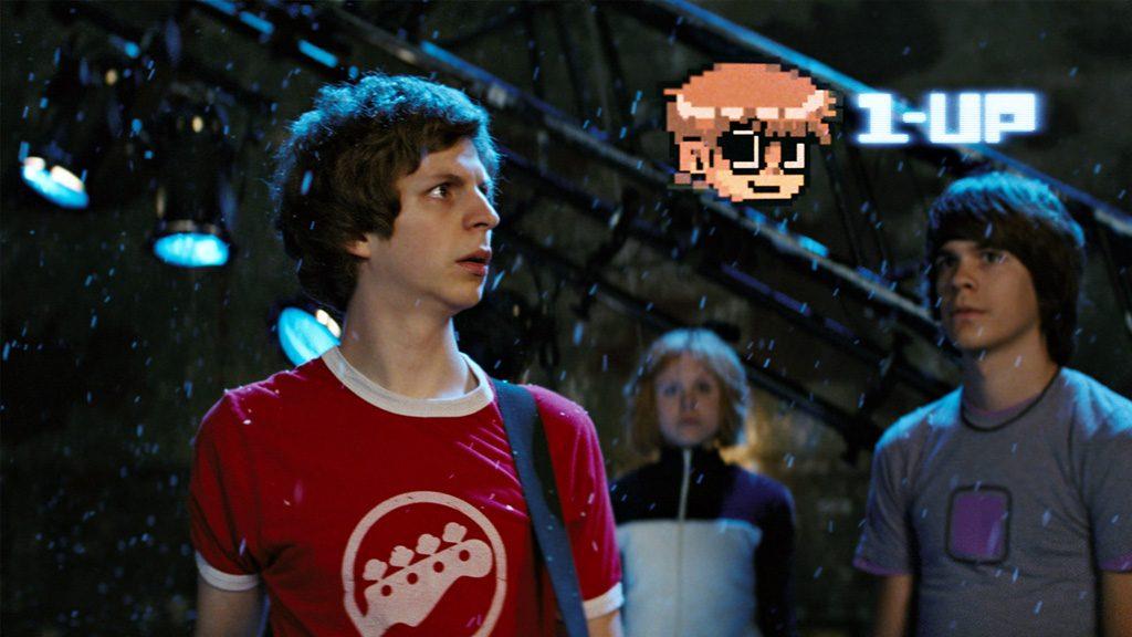 Fotograma de la película Scott Pilgrim vs The World donde la confluencia de medios, cine y videojuegos, es más que evidente.