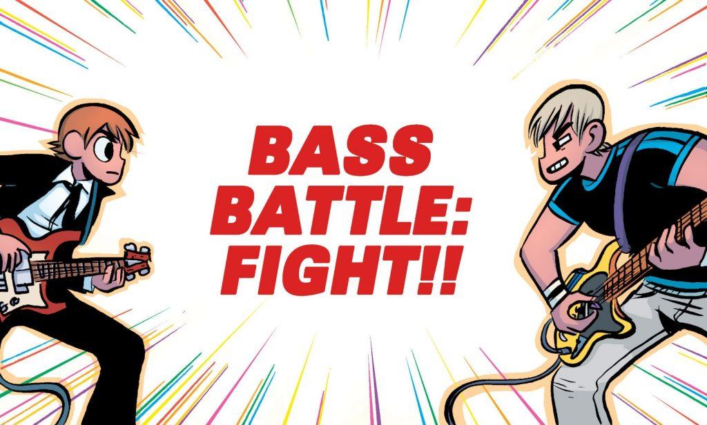 Ilustración del cómic Scott Pilgrim vs The World donde las batallas entre Scott y los exnovios de Ramona son el catalizador de la trama.