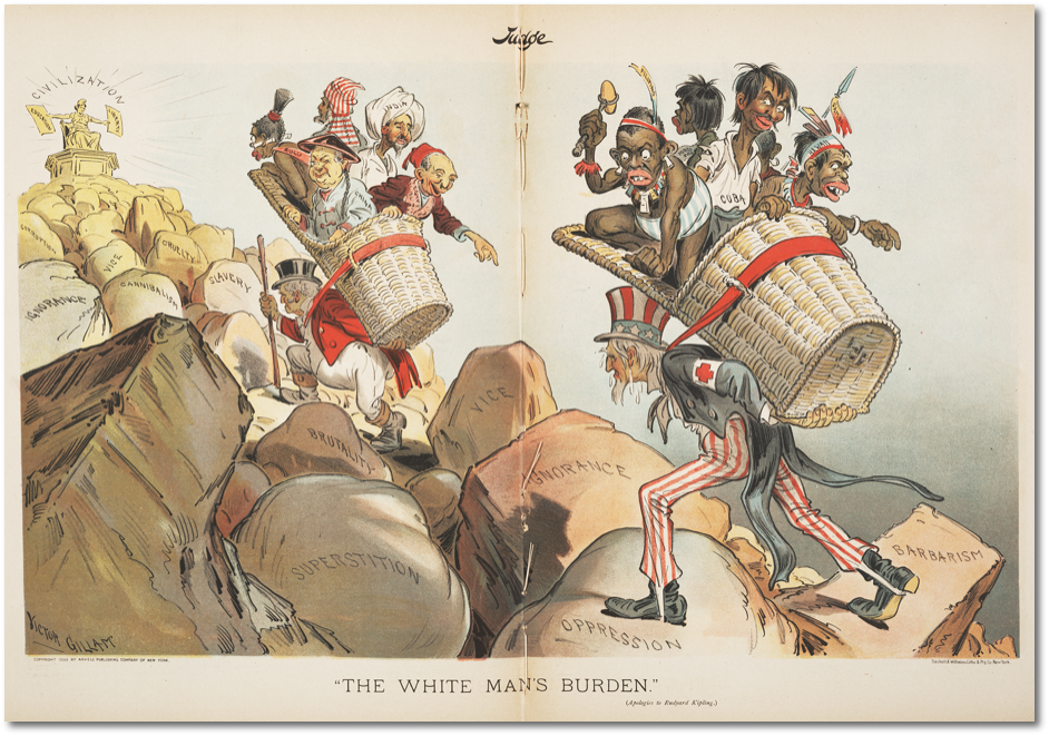 """The White Man's Burden (Apologies to Rudyard Kipling)."" Victor Gillam, Judge, 1 de Abril de 1899. Fuente: The Ohio State University Billy Ireland Cartoon Library & Museum.. Neoimperialismo y videojuegos"