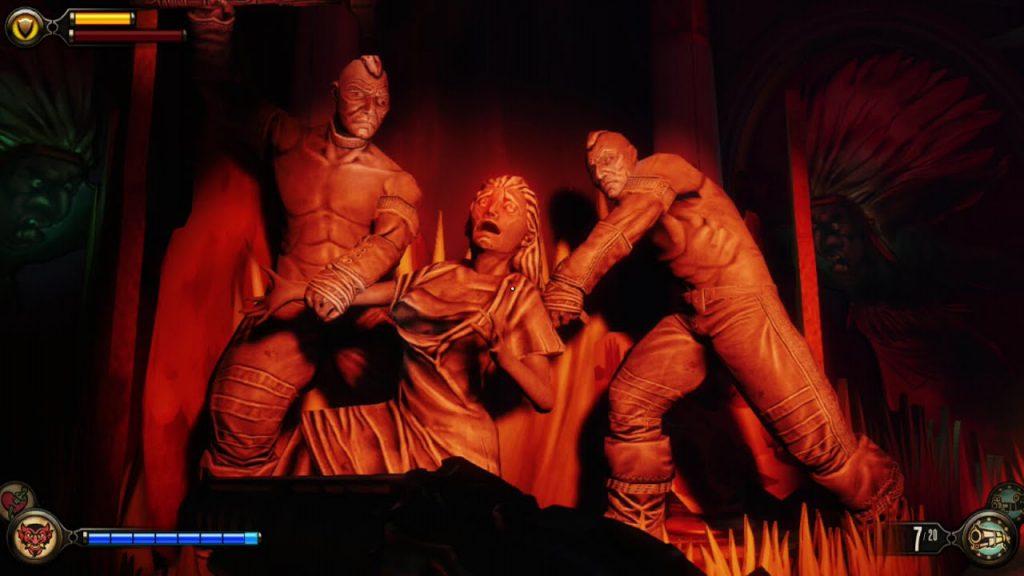 Captura de pantalla del museo creado en Columbia, ciudad de BioShock Infinite, para conmemorar la matanza de Wounded Knee.. Neoimperialismo y Videojuegos.