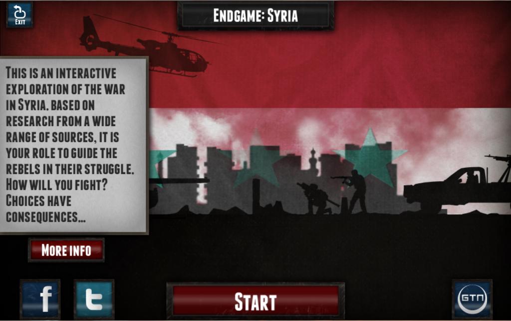 Captura de pantalla de Endgame: Syria. La primera muestra de la relación entre la Guerra de Siria y los videojuegos.
